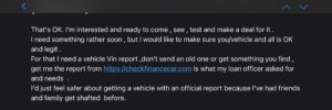 Vehicle VIN Scam Email 2